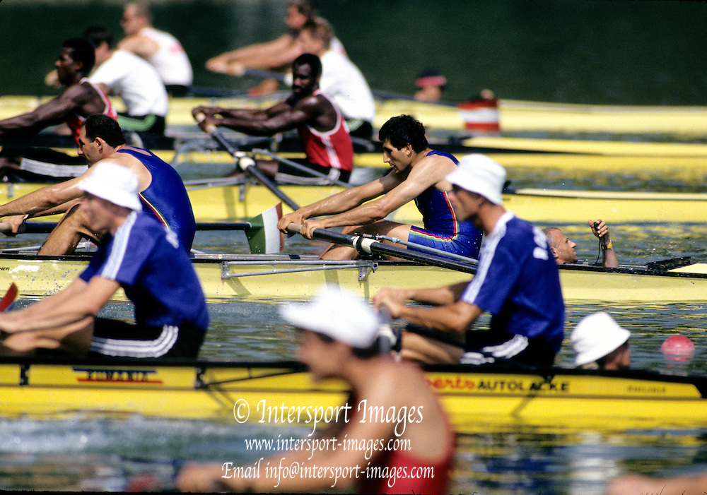 Barcelona Olympics 1992 - Lake Banyoles, SPAIN,  ITA M2+ Silver Medallist,  ABBAGNALE Carmine, ABBAGNALE Giuseppe, cox DI CAPUA Giuseppe. Photo: Peter Spurrier/Intersport Images.  Mob +44 7973 819 551/email images@intersport-images.com.       {Mandatory Credit: © Peter Spurrier/Intersport Images]..       {Mandatory Credit: © Peter Spurrier/Intersport Images].