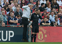 Football - 2017 / 2018 FA Cup - Semi-Final: Manchester United vs. Tottenham Hotspur<br /> <br /> Jose Mourinho, Manager of Manchester United, tries to encourage his team on in the last moments of the match at Wembley Stadium.<br /> <br /> COLORSPORT/DANIEL BEARHAM