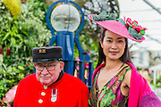 Chelsea pensioners visit the Birmingham council stand - RHS Chelsea Flower Show, Chelsea Hospital, London UK, 18 May 2015.