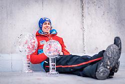 26.03.2017, Planica, Ratece, SLO, FIS Weltcup Ski Sprung, Planica, Skiflug, Siegerehrung, im Bild Gesamtweltcup- und Skiflug Weltcup Sieger Stefan Kraft (AUT) // Overall World Cup and Ski Flying World Cup winner Stefan Kraft of Austria during award winner ceremony after the Ski Flying Hill Individual competition of the FIS Ski Jumping World Cup Final 2017 at Planica in Ratece, Slovenia on 2017/03/26. EXPA Pictures © 2017, PhotoCredit: EXPA/ JFK