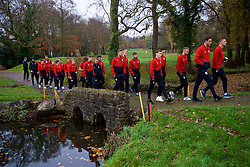 CARDIFF, WALES - Friday, November 16, 2018: Wales players during a pre-match walk at the Vale Resort ahead of the UEFA Nations League Group Stage League B Group 4 match between Wales and Denmark. (Pic by David Rawcliffe/Propaganda)