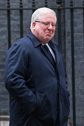 © Licensed to London News Pictures. 08/01/2018. London, UK. Former Chairman of the Conservative Party Patrick McLoughlin leaves 10 Downing Street after quitting his role as part of Prime Minister Theresa May's reshuffles of the Cabinet. Photo credit: Rob Pinney/LNP