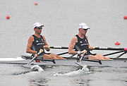 Shunyi, CHINA.  Heat of the Lightweight men's double sculls, NZL LM2X, Bow, Ure STORM and Peter TAYLOR, move away from the start, at the 2008 Olympic Regatta, Shunyi Rowing Course. 10/08/2008  [Mandatory Credit: Peter SPURRIER, Intersport Images]