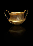 Two handled Mycenaean gold bowl cup from the Kakovatos tholos tomb, Trifylia, Greece. National Archaeological Museum Athens. Black Background<br /> <br /> Kakovatos is a significant site of the early Mycenaean period of Greece (c. 16th to 15th century BC) on the west coast of the Peloponnese (Zacharo, Nomos Elis) and became widely known through the excavations of three large tholos tombs by Wilhelm Dörpfeld in 1907–1908. .<br /> <br /> If you prefer to buy from our ALAMY PHOTO LIBRARY  Collection visit : https://www.alamy.com/portfolio/paul-williams-funkystock/mycenaean-art-artefacts.html . Type -   Athens    - into the LOWER SEARCH WITHIN GALLERY box. Refine search by adding background colour, place, museum etc<br /> <br /> Visit our MYCENAEN ART PHOTO COLLECTIONS for more photos to download  as wall art prints https://funkystock.photoshelter.com/gallery-collection/Pictures-Images-of-Ancient-Mycenaean-Art-Artefacts-Archaeology-Sites/C0000xRC5WLQcbhQ