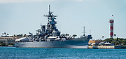 """Ordered in 1940 and active in June 1944, the USS Missouri (""""Mighty Mo"""") was the last battleship commissioned by the United States. She is best remembered as the site of the surrender of the Empire of Japan which ended World War II on September 2, 1945 in Tokyo Bay. In the Pacific Theater of World War II, she fought in the battles of Iwo Jima and Okinawa and shelled the Japanese home islands. She fought in the Korean War from 1950 to 1953. Decommissioned in 1955 into the United States Navy reserve fleets (the """"Mothball Fleet""""), she was reactivated and modernized in 1984 and provided fire support during Operation Desert Storm in January-February 1991. The ship was decommissioned in March 1992. In 1998, she was donated to the USS Missouri Memorial Association and became a museum at Pearl Harbor, on the island of Oahu, Hawaii, USA. This image was stitched from multiple overlapping images."""