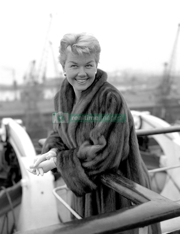 File photo dated 12/04/55 of actress Doris Day abroad The Cunard Liner Queen Elizabeth at Southampton. The Hollywood legend and singer has died aged 97.