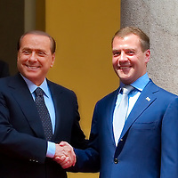 MILAN, ITALY - JULY 23:    Italian Prime Minister Silvio Berlusconi welcomes Russian President Dimitry Medvedev at Palazzo della Provincia on July 23, 2010 in Milan, Italy. Italian Prime Minister Berlusconi and Russian President Medvedev will discuss issues related to Russia's relations with NATO and the EU, energy security, and the development of bilateral trade and economic relations. .***Agreed Fee's Apply To All Image Use***.Marco Secchi /Xianpix. tel +44 (0) 207 1939846. e-mail ms@msecchi.com .<br />  www.marcosecchi.com