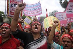 May 1, 2019 - Dhaka, Bangladesh - Bangladeshi activists and workers participate in a May Day protest in Dhaka, Bangladesh on May 1, 2019. (Credit Image: © Rehman Asad/NurPhoto via ZUMA Press)
