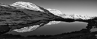 Early Morning Reflections in a Pond at Cottonwood Pass in Colorado. Gone to See America 2013. Composite of 3 images taken with a Leica X2 camera (ISO 100, 24 mm, f/16, 1/60 sec) using AutoPano Giga Pro 3. Converted to B&W using Adobe/NIK Silver Efex Pro 2. Rocky Mountain Photo Safari with Jason Odell.