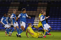 Joe Ward of Peterborough United scores his sides second goal against Burton Albion - Mandatory by-line: Joe Dent/JMP - 27/10/2020 - FOOTBALL - Weston Homes Stadium - Peterborough, England - Peterborough United v Burton Albion - Sky Bet League One