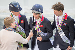 Team GBR won silver in the team test - Alltech FEI World Equestrian Games™ 2014 - Normandy, France.<br /> © Hippo Foto Team - Jon Stroud<br /> 31-08-14