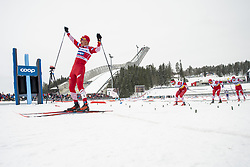 March 9, 2019 - Oslo, NORWAY - 190309 Aleksandr Bolsjunov of Russia celebrates after winning the men's 50 km classic technique during the FIS Cross-Country World Cup on March 9, 2019 in Oslo..Photo: Fredrik Varfjell / BILDBYRÃ…N / kod FV / 150211. (Credit Image: © Fredrik Varfjell/Bildbyran via ZUMA Press)