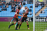 Bradford City defender Anthony McMahon (29) keeps Coventry City forward Kwame Thomas (14) at bay during the EFL Sky Bet League 1 match between Coventry City and Bradford City at the Ricoh Arena, Coventry, England on 11 March 2017. Photo by Simon Davies.