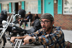 """Tsuyoshi """"Gonz"""" Mitsunaga of Japan on Friday afternoon in the hotel parking lot before the Race of Gentlemen. Wildwood, NJ, USA. October 9, 2015.  Photography ©2015 Michael Lichter."""