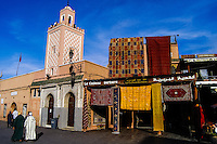 Morocco, Marrakesh. Jamaa el Fna is a square and market place in the medina quarter (old city). Carpet shop.