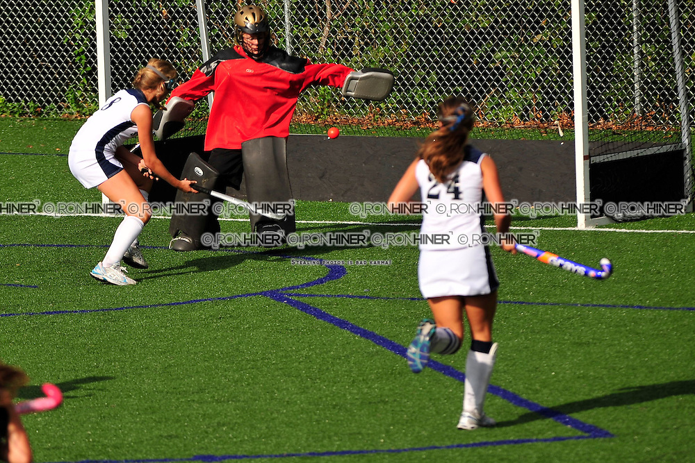 Staples High School Field Hockey..Staples defeats Trumbull 6-1..Noortje Lueb puts a ball right past the goalie to score!.