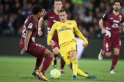 Julian Draxler of PSG and Matthieu Udol of FC Metz compete during the Ligue 1 match between FC Metz and Paris Saint Germain at the Stadium Saint Symphorien in Metz, FRANCE on September 8, 2017.Paris Saint Germain won FC Metz  with 5-1. (Credit Image: © Jack Chan/Chine Nouvelle/Xinhua via ZUMA Wire)