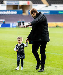 Alun Wyn Jones with his daughter after the match<br /> <br /> Photographer Simon King/Replay Images<br /> <br /> Guinness PRO14 Round 18 - Ospreys v Dragons - Saturday 23rd March 2019 - Liberty Stadium - Swansea<br /> <br /> World Copyright © Replay Images . All rights reserved. info@replayimages.co.uk - http://replayimages.co.uk