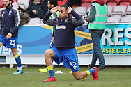 AFC Wimbledon defender Darius Charles (32) warming up during the EFL Sky Bet League 1 match between AFC Wimbledon and Oxford United at the Cherry Red Records Stadium, Kingston, England on 10 March 2018. Picture by Matthew Redman.