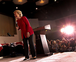 """Democratic presidential nominee Hillary Clinton acknowledges the crowd as they sing """"Happy Birthday"""" to her during an early voting rally on Tuesday, October 25, 2016 at the Omni Auditorium on the Broward College North Campus in Coconut Creek, FL, USA. Photo by Patrick Farrell/Miami Herald/TNS/ABACAPRESS.COM"""