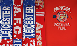Arsenal and Leicester City merchandise outside the stadium