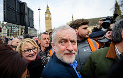 © Licensed to London News Pictures. 04/03/2017. London, UK. Labour Party leader JEREMY CORBYN attaneds a demonstration organised by People's Assembly Against Austerity, calling for For a fully funded, publicly owned, NHS and social care service. Labour leader Jeremy Corbyn and Unite general secretary Len McCluskey are expected to speak at the London event, with similar marches taking place across the UK. Photo credit: Ben Cawthra/LNP