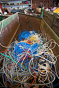 Wire in bin at Recycling Center, Los Angeles, California, USA