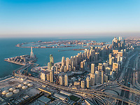 Aerial view of the Palm Jumeirah in the bay of Dubai, U.A.E.