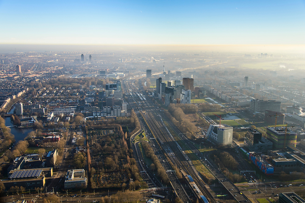 Nederland, Noord-Holland, Amsterdam, 11-12-2013; overzicht  Zuidas met ING_house in de voorgrond. Onder in beeld de Amstelveenseweg en VUmc (re). Op het tweede plan Station Zuid-Wtc. Ringweg Zuid, A10.<br /> Zuid-as, 'South axis', financial center in the South of Amsterdam. Amsterdam equivalent of 'the City', financial district. <br /> luchtfoto (toeslag op standaard tarieven);<br /> aerial photo (additional fee required);<br /> copyright foto/photo Siebe Swart.