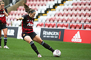 Manchester United midfielder Kirsty Hanson (18) warming up during the FA Women's Super League match between Manchester United Women and Manchester City Women at Leigh Sports Village, Leigh, United Kingdom on 14 November 2020.
