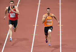 07-03-2015 CZE: European Athletics Indoor Championships, Prague<br /> Meerkamper Eelco Sintnicolaas is goed begonnen aan de zevenkamp bij de EK indoor atletiek in Praag. De titelverdediger zette op het openingsnummer, de 60 meter, de vierde tijd neer met 6,98 seconden. Links Nielks Pittomvils BEL