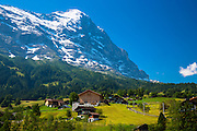 The town of Grindelwald beneath the Eiger mountain North Face in the Swiss Alps in the Bernese Oberland, Switzerland
