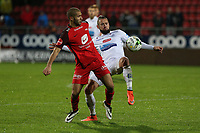 Fotball , 28. oktober 2017 , Eliteserien, Haugesund - Brann.<br />Amin Nouri fra Brann i aksjon mot Sondre Tronstad fra Haugesund.<br />Foto: Andrew Halseid Budd , Digitalsport