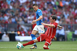 August 2, 2017 - Munich, Germany - Sebastian Rudy of Bayern tackling on Piotr Zielinski of Napoli during the Audi Cup 2017 match between SSC Napoli v FC Bayern Muenchen at Allianz Arena on August 2, 2017 in Munich, Germany. (Credit Image: © Matteo Ciambelli/NurPhoto via ZUMA Press)