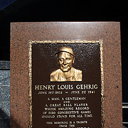 The Henry Louis Gehrig plaque at Monument Park, an open-air museum located at the new Yankee Stadium containing a collection of monuments, plaques, and retired numbers honoring distinguished members of the New York Yankees. New York, USA. Photo Tim Clayton