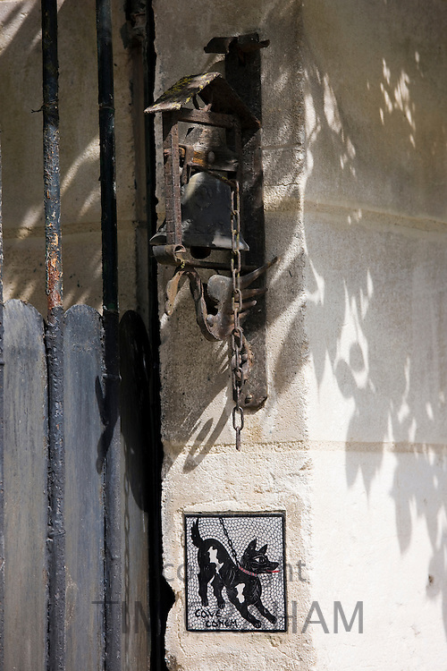 Beware of the Dog sign and doorbell in Bourdeilles near Brantome in Northern Dordogne, France