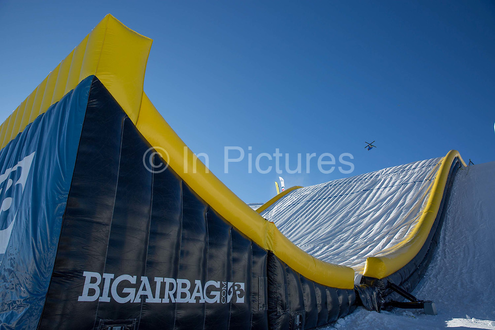 GB Park & Pipe winter training facility in Mottolino Snow Park on 7th December 2017 in Livingo, Italy. The Big Air Bag is the first of its kind and has been developed by the GB Park & Pipe's Hamish McKnight and Lesley McKenna. The air bag was built by BigAirBag company from Holland.