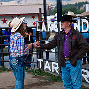 Cal Ruark thanking the Violin player at the Darby Rodeo Associations Broncs N Barrels event.  September 14, 2018.  Photo by Josh Homer/Burning Ember Photography.  Photo credit must be given on all uses.