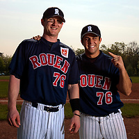 25 April 2010: Aaron Hornostaj of Rouen poses next to Mark Terrana during game 1/week 3 of the French Elite season won 12-4 by Rouen over the PUC, at the Pershing Stadium in Vincennes, near Paris, France.
