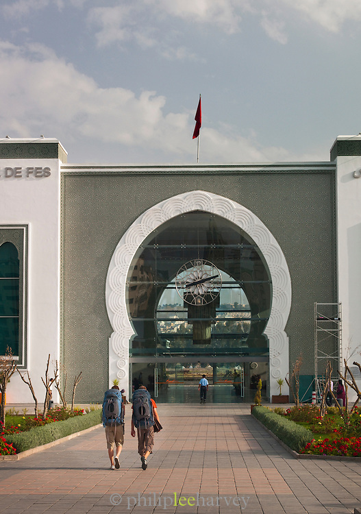 The modern built train station in the Ville Nouvelle, the new town, in Fes, Morocco