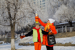 February 6, 2018 - Jilin, Jilin, China - Jilin,CHINA-6th February 2018: Wu Xiuying, a 72-year-old retired woman in Jilin, northeast China, practices roller skating along Songhua River. (Credit Image: © SIPA Asia via ZUMA Wire)