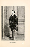 Jean Passepartout valet of Phileas Fogg. from the book ' Around the world in eighty days ' by Jules Verne (1828-1905) Translated by Geo. M. Towle, Published in Boston by James. R. Osgood & Co. 1873 First US Edition