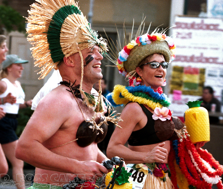 Unidentified natives run the 90th Bay to Breakers, Sunday, May 20, 2001 in San Francisco. (Photo by D. Ross Cameron)