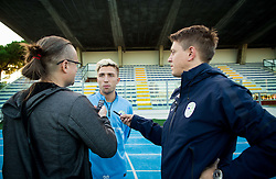 Kevin Kampl talking to Rok Plestenjak and Matjaz Krajnik during the practice session of Team Slovenia 1 day before EURO 2016 Qualifier Group E match between Slovenia and San Marino, on October 11, 2015 in Riccione, Italy. Photo by Vid Ponikvar / Sportida
