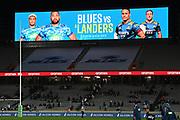 The big screen announces a home final against the Highlanders.<br /> Blues v Force, Sky Super Rugby Trans-Tasman. Eden Park, Auckland. New Zealand. Saturday 12 June 2021. © Copyright Photo: Andrew Cornaga / www.photosport.nz