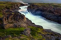 Iceland. The spectacular Goðafoss waterfall in the Skjálfandafljót river.