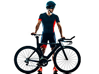 triathlete triathlon Cyclist cycling  in studio silhouette shadow  isolated  on white background