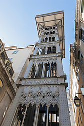 View to Santa Justa Lift from below, Lisbon, Portugal