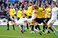 Swansea's Borja stretches and pokes the ball but sees it saved by Watford's goalkeeper Heurelho Gomes (out of shot). Premier league match, Swansea city v Watford at the Liberty Stadium in Swansea, South Wales on Saturday 22nd October 2016.<br /> pic by  Carl Robertson, Andrew Orchard sports photography.