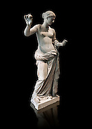 The Venus of Arles (  Greek Goddess Aphrodite) is a 1.94-metre-high (6.4ft) marble sculpture of Venus probably a copy of the Aphrodite of Thespiae by 4th century BC Greek Athenian sculpture Praxiteles . Louvre Museum, Paris. <br /> The style of the Venus of Arles, like the Venus de Milo, is not a fully nude figure both having draped clothes from the waist down. The first known example of a totally nude Venus is the 4th century BC  Aphrodite of Cnidus by.Praxiteles  The Venus of Arles was probably an earlier statue by Praxiteles known as the Aphrodite of Thespiae . <br /> The venus of Arles was found in 1651 by workmen digging a well in Arles. In 1681 it was given to Louis XIV to decorate the Galerie des Glaces of Versailles. The statue was moved to the Musée du Louvre after the French Revolution. .<br /> <br /> If you prefer to buy from our ALAMY STOCK LIBRARY page at https://www.alamy.com/portfolio/paul-williams-funkystock/greco-roman-sculptures.html- Type -    Louvre    - into LOWER SEARCH WITHIN GALLERY box - Refine search by adding a subject, place, background colour,etc.<br /> <br /> Visit our CLASSICAL WORLD HISTORIC SITES PHOTO COLLECTIONS for more photos to download or buy as wall art prints https://funkystock.photoshelter.com/gallery-collection/The-Romans-Art-Artefacts-Antiquities-Historic-Sites-Pictures-Images/C0000r2uLJJo9_s0c